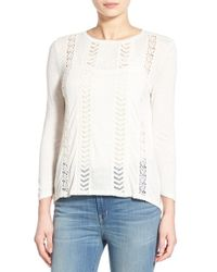 Hinge - White Embroidered Lace Knit Top - Lyst
