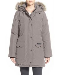 Canada Goose | Gray 'trillium' Regular Fit Down Parka With Genuine Coyote Fur Trim | Lyst