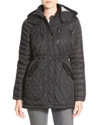Vince Camuto Black Detachable Hood Quilted Anorak