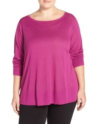 Halogen - Red Button Back Boatneck Sweater - Lyst