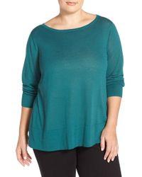 Halogen - Blue Button Back Boatneck Sweater - Lyst
