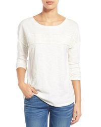 Caslon | White Caslon Eyelet Trim Three-quarter Sleeve Tee | Lyst