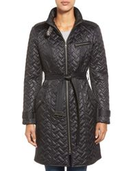 Cole Haan | Black Belted Quilted Coat | Lyst