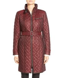 Cole Haan   Black Belted Quilted Coat   Lyst