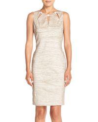 Eliza J | Natural Embellished Cutout Taffeta Sheath Dress | Lyst