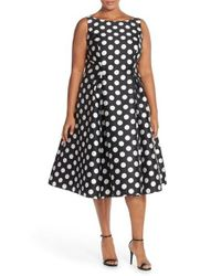 Adrianna Papell | Black Sleeveless Mikado Fit & Flare Polka Dot Midi Dress | Lyst