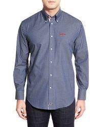 Thomas Dean   Blue 'ole Miss Rebels' Regular Fit Long Sleeve Gingham Sport Shirt for Men   Lyst