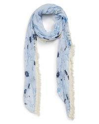 Hinge - Blue Batik Print Fringe Scarf - Lyst
