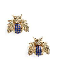 TOPSHOP - Metallic Rhinestone Insect Stud Earrings - Lyst