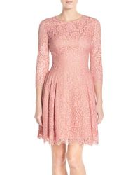 Eliza J - Pink Fit-and-Flare Lace Dress - Lyst