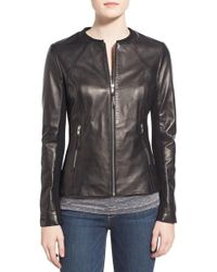 SOIA & KYO | Black Slim Fit Zip Front Leather Jacket | Lyst
