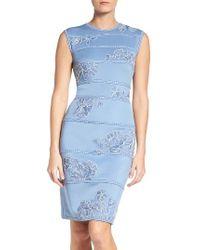 Tadashi Shoji | Blue Embroidered Neoprene Sheath Dress | Lyst