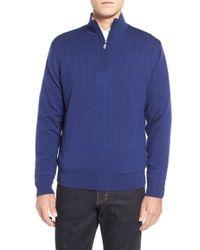 Bobby Jones   Blue Windproof Merino Wool Quarter Zip Sweater for Men   Lyst