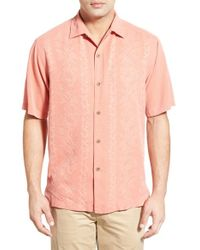 Tommy Bahama | Pink 'lei Riviera Jacquard' Regular Fit Silk Camp Shirt for Men | Lyst