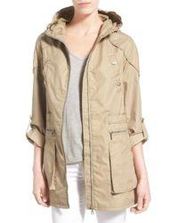 Sam Edelman | Natural Roll Sleeve Cotton Twill Utility Jacket | Lyst