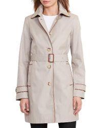 Lauren by Ralph Lauren | Natural Faux Leather Trim Trench Coat | Lyst