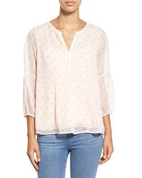 Two By Vince Camuto - Pink 'twinkle Ditsy' Sheer Split Neck Blouse - Lyst