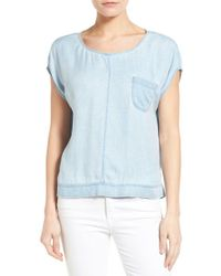 Two By Vince Camuto - Blue One Pocket Denim Top - Lyst