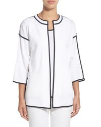 Ming Wang - White Contrast-Trim Crepe Jacket - Lyst