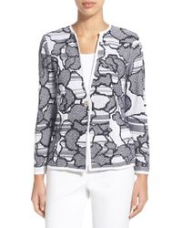 Ming Wang - Blue Floral and Striped Jacquard Jacket - Lyst