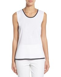 Ming Wang - White Contrast Trim Scoop Neck Knit Tank - Lyst