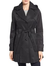 Via Spiga | Black 'scarpa' Hooded Single Breasted Trench Coat | Lyst