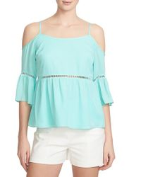 1.STATE - Blue Cold Shoulder Peasant Top - Lyst