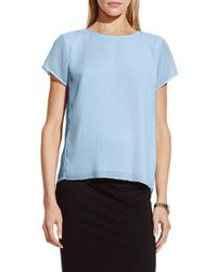 Vince Camuto - Blue Short Sleeve Pleat Blouse - Lyst