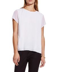Vince Camuto - White Short Sleeve Pleat Blouse - Lyst