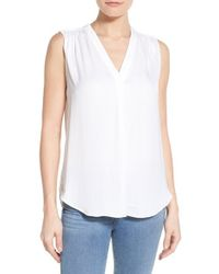 Vince Camuto - White Shirred Shoulder V-neck Blouse - Lyst