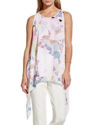 Vince Camuto - White 'shattered Mirage' Print Handkerchief Hem Blouse - Lyst