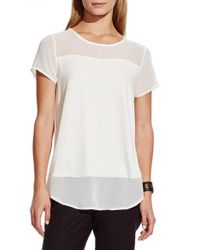 Vince Camuto | White Chiffon Yoke Short Sleeve Top | Lyst