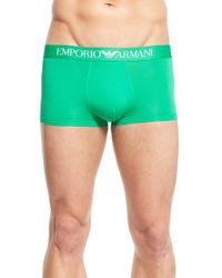 Emporio Armani - Green Stretch Microfiber Trunks for Men - Lyst