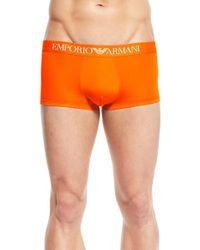 Emporio Armani | Orange Stretch Microfiber Trunks for Men | Lyst