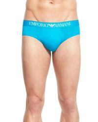 Emporio Armani - Blue Stretch Microfiber Briefs for Men - Lyst