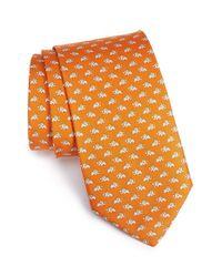 Ferragamo - Orange Elephant Print Silk Tie for Men - Lyst