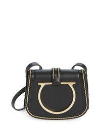 Ferragamo | Black 'Sabine' Nappa Leather Saddle Bag | Lyst