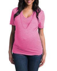Bun Maternity | Pink 'softie' Maternity/nursing Tee | Lyst
