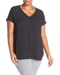 Sejour | Black Pleat Front Short Sleeve Top | Lyst
