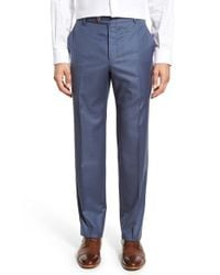 Hickey Freeman - Blue Flat Front Solid Wool Trousers for Men - Lyst