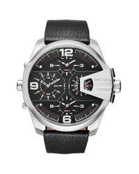 DIESEL | Black Diesel 'uber Chief' Chronograph Leather Strap Watch for Men | Lyst