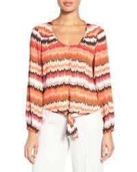 Chaus - Multicolor 'Desert Tempo' Print Tie Front Blouse - Lyst