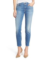 7 For All Mankind - Blue 'kimmie' Frayed Hem Crop Skinny Jeans - Lyst