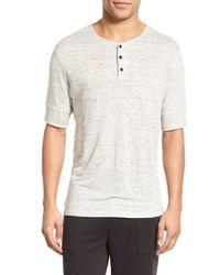 Vince - Gray Linen Jersey Henley T-shirt for Men - Lyst
