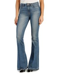 PAIGE - Blue 'bell Canyon' High Rise Released Hem Flare Jeans - Lyst