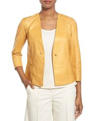 Lafayette 148 New York | Yellow Cassie Leather Jacket | Lyst