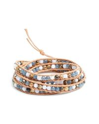 Chan Luu - Metallic Beaded Leather Wrap Bracelet - Lyst