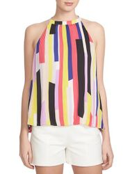1.STATE - Multicolor 'abstract Slices' Pleat High Neck Tank - Lyst