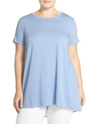 Vince Camuto - Blue Mixed Media High/low Top - Lyst
