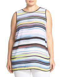 Vince Camuto - Multicolor 'enlightenment' Print Front Sleeveless Mixed Media Top - Lyst